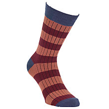 Buy Selected Homme Ribbed Stripe Sock, One Size, Orange/Burgundy Online at johnlewis.com