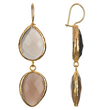 Buy Ottoman Hands 21ct Gold Plated Rose Quartz and White Agate Double Teardrop Drop Earrings, White / Pink Online at johnlewis.com