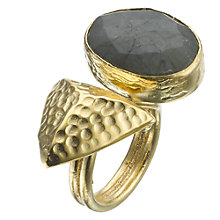 Buy Ottoman Hands 21ct Gold Plated Labradorite Geometric Ring, Grey Online at johnlewis.com