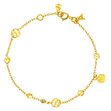 Buy Auren 22ct Gold Vermeil Diamond Hammered Discs Bracelet Online at johnlewis.com