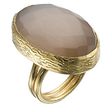Buy Ottoman Hands 21ct Gold Plated Rose Quartz Oval Ring, Dusty Pink Online at johnlewis.com