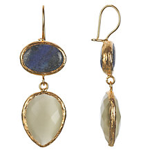 Buy Ottoman Hands 21ct Gold Plated Lapis Lazuli and Crystal Double Drop Earrings, Blue / White Online at johnlewis.com