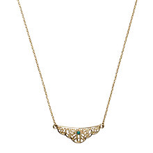 Buy Orelia Filigree & Emerald Ditsy Necklace, Gold Online at johnlewis.com