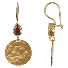 Buy Ottoman Hands 21ct Gold Plated Crystal Teardrop and Hammered Disc Earrings Online at johnlewis.com