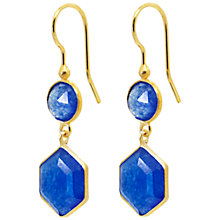 Buy Auren Hexagon 22ct Gold Two Drop Earrings, Blue Online at johnlewis.com