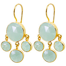 Buy Auren 22ct Gold Vermeil Aqua Chalcedony Cluster Drop Earrings Online at johnlewis.com