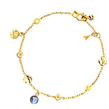 Buy Auren 22ct Gold Labrodite Small Hammered Discs Bracelet Online at johnlewis.com