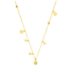 Buy Auren 22ct Gold Vermeil Diamond Hammered Discs Necklace Online at johnlewis.com