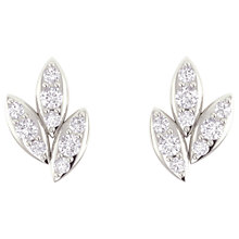 Buy Joma Snowdrop Pave Leaf Stud Earrings, Silver Online at johnlewis.com