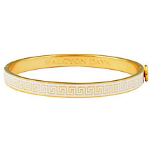 Buy Halcyon Days 18ct Gold Plated Mini Greek Key Enamel Bangle, Cream Online at johnlewis.com