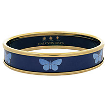 Buy Halcyon Days 18ct Gold Plated Enamel Butterfly Bangle, Navy Online at johnlewis.com