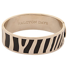 Buy Halcyon Days Palladium Plated Enamel Zebra Stripe Bangle, Black Online at johnlewis.com