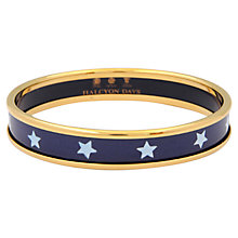 Buy Halcyon Days 18ct Gold Plated Enamel Star Bangle, Navy Online at johnlewis.com