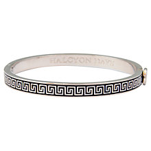 Buy Halcyon Days Mini Greek Key 18ct Palladium Plated Bangle, Black Online at johnlewis.com