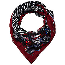Buy Betty Barclay Stripe/Check Square Scarf, Red / Blue Online at johnlewis.com