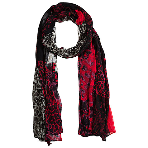 Buy Betty Barclay Flower Animal Print Long Scarf, Red / Black Online at johnlewis.com