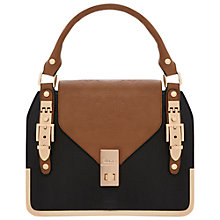 Buy Dune Deckles Front Flap Bag, Black Online at johnlewis.com