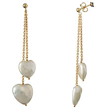 Buy Cobra & Bellamy 18ct Gold Pearl Heart Earrings, White Online at johnlewis.com