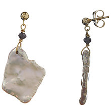Buy Cobra & Bellamy 18ct Gold Pearl Slice and Diamond Drop Earrings Online at johnlewis.com