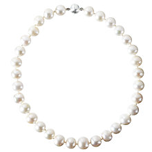 Buy Cobra & Bellamy Fresh Water Pearl Silver Necklace, White Online at johnlewis.com