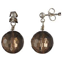 Buy Cobra & Bellamy Smokey Quartz Silver Earrings, Brown Online at johnlewis.com