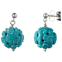 Buy Cobra & Bellamy Carved Turquoise Silver Earrings, Green Online at johnlewis.com