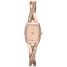Buy DKNY NY2238 Women's Crosswalk Rectangle Glitz Bracelet Strap Watch, Rose Gold Online at johnlewis.com