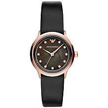 Buy Emporio Armani AR1802 Women's Alpha Mother of Pearl Dial Watch, Black / Rose Gold Online at johnlewis.com