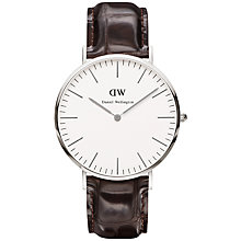 Buy Daniel Wellington Men's Classic York Leather Strap Watch, Brown/Silver Online at johnlewis.com