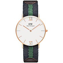 Buy Daniel Wellington Unisex Grace Warwick Watch, Navy/Green Online at johnlewis.com