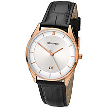Buy Sekonda 1004.27 Men's Rose Gold Plated Analogue Leather Strap Watch, Black Online at johnlewis.com