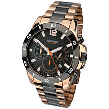 Buy Sekonda 1006.27 Men's Two Tone Rose Gold Plated Chronograph Watch, Gunmetal/Rose Gold Online at johnlewis.com