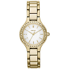 Buy DKNY NY2220 Women's Chambers Glitz Watch, Gold/White Online at johnlewis.com