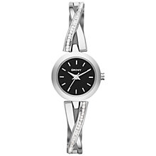 Buy DKNY Ny2174 Women's Crosswalk Round Black Dial Watch, Silver Online at johnlewis.com