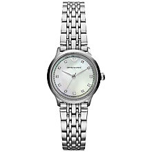 Buy Emporio Armani AR1803 Women's Mother of Pearl Bracelet Strap Watch, Silver Online at johnlewis.com
