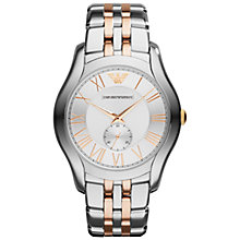 Buy Emporio Armani AR1824 Men's Valente Stainless Steel Watch, Silver / Rose Gold Online at johnlewis.com