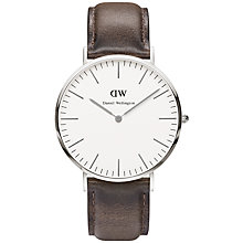 Buy Daniel Wellington Men's Classic Cardiff Leather Strap Watch, Brown/Silver Online at johnlewis.com