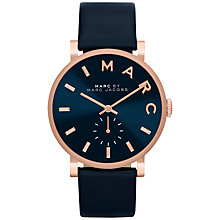 Buy Marc Jacobs MBM1329 Unisex Baker Stainless Steel Leather Strap  Watch, Navy Online at johnlewis.com