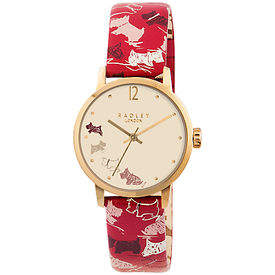 Radley RY2272 Women's Mini Dogs Leather Strap Watch, Red/Multi