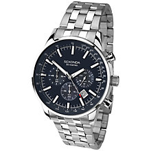 Buy Sekonda 1008.27 Men's Stainless Steel Chronograph Watch, Silver / Dark Blue Online at johnlewis.com