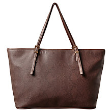 Buy East Mia Snake Print Shopper Bag, Espresso Online at johnlewis.com