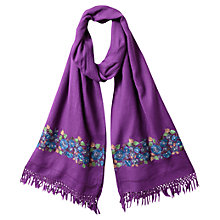 Buy East Nomi Floral Embroidered Wool Scarf, Magenta Online at johnlewis.com