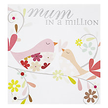 Buy Caroline Gardner Mum In A Million Birds Mother's Day Card Online at johnlewis.com