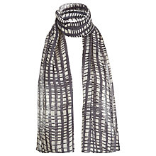 Buy Havren Paint Check Silk Scarf, White/Black Online at johnlewis.com