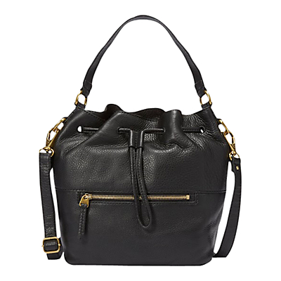 Fossil Vickery Leather Draw String Bucket Bag Black