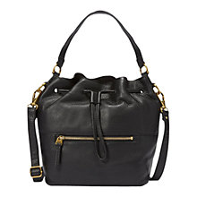 Buy Fossil Vickery Leather Draw String Tote Bag, Black Online at johnlewis.com
