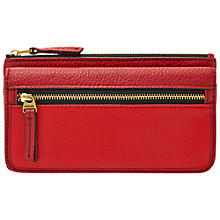 Buy Fossil Erin Flap Leather Clutch Purse, Scarlet Online at johnlewis.com