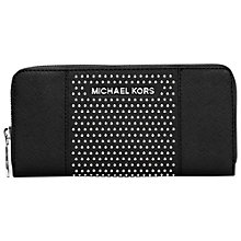 Buy MICHAEL Michael Kors Micro Stud Zip Around Leather Purse, Black Online at johnlewis.com