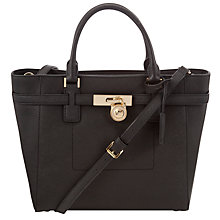Buy MICHAEL Michael Kors 18ct Gold Large Hamilton Leather Tote Bag, Black Online at johnlewis.com