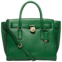 Buy MICHAEL Michael Kors Hamilton Large Traveller Leather Tote Bag, Green Online at johnlewis.com